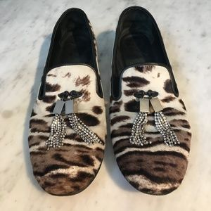 Giuseppe Zanotti Animal Print Calf-Hair Loafers